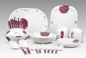 Dinewell Melamine Red Rose Dinner Set