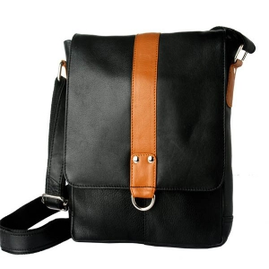 Zunash Side Sling bag Black with Tan Stripe - ZSB-5029-U-BK