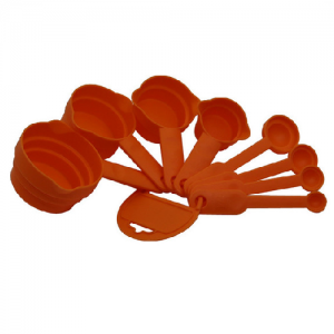 Set of 8 Pcs Measuring Cup and Spoon-Orange