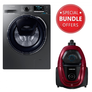 Samsung  Fully-Automatic Front Loading Washing Machine - 9 kg - WW90K6410QX + Free Gift Samsung Vacuum Cleaner Bagless 1800 W - VC18M31A0HP