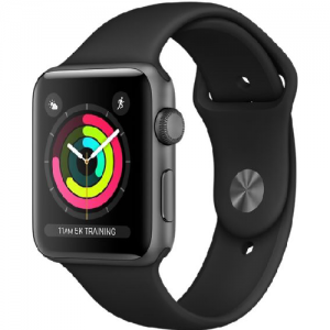 Apple Watch Series 3 42mm Space Gray Aluminum Case, Black Sports Band Smartwatch