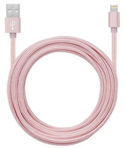 Powerology Braided Lightning Cable with Metallic Plugs - Rose Gold