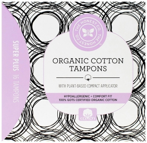 The Honest Company Organic Cotton Tampons with Plant-Based Compact Applicator Super Plus - 16 Count