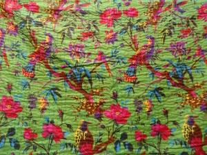 Tribal Asian Textiles Bird Print King Size Kantha Quilt - Green