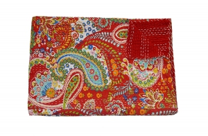 The Ethnic Crafts Red Paisley Print Kantha Work Quilt Twin Size Blanket