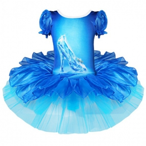 iEFiEL Ballet Dress Crystal Shoes Print Ballet Dress - for Kids Girls Blue-Size M