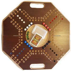 Jackaro 4 Players Eight Ribs Shape Foldable With Numbers - Brown