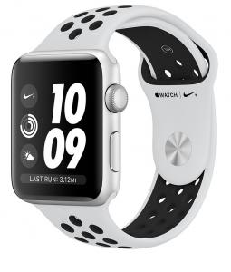 Apple - Watch Nike+ GPS 42mm Silver Aluminium with Pure Platinum/Black Nike Sport Band - AP1MQL32