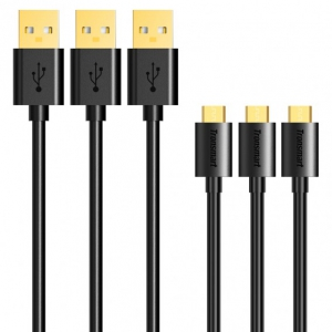 Tronsmart Micro USB Cable Gold Plated USB 2.0 6ft 1.8m - Black