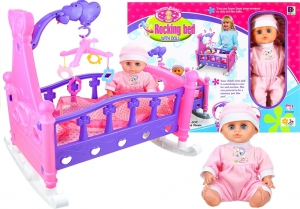 Rocking Bed With Doll and Bedding Mobile Included