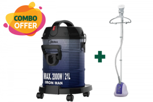 Midea 1.5L Garment Steamer - 1500W + Midea Drum Vacuum Cleaner - 2000W