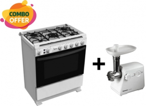 Midea 80x60cm Gas Cooker 5 Burners + Panasonic Meat Grinder 1000W - 2 Blade