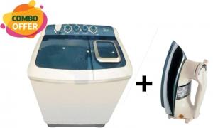 Midea 10 Kg Washing Machine Twin Tub - White + Panasonic Dry Iron - 1000W