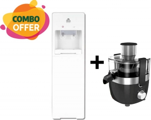 Orca Water Dispenser Free Standing - 2 Tap + Midea 350 Watts Juicer - Black