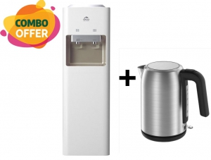 Orca Water Dispenser Free Standing - 2 Tap + Midea Stainless Steel Kettle - 1.7 Liter