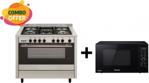 Flamegas Gas Cooker 100x60cm - 5 Burner + Panasonic 23 Liters Dual Cooking Microwave