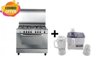 Flamegas Gas Cooker 80x60cm - 5 Burner + Panasonic Juicer & Blender