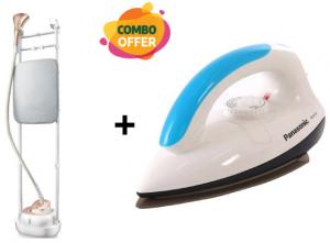 Midea 2L Garment Steamer - 2000 Watt  + Panasonic Electric Dry Iron Machine White/Blue - NI-317TATH