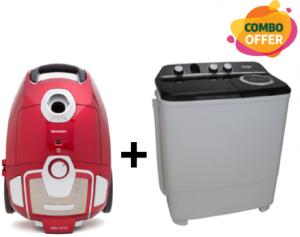Sharp Twin Tub Washing Machine  - 14kg + Baggy Vacuum Cleaner - 1800W