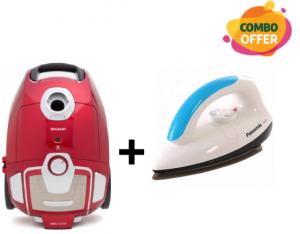 Sharp - Baggy Vacuum Cleaner - 1800W + Panasonic Electric Dry Iron Machine White/Blue - NI-317TATH