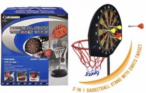 Evana 2 in 1 Basketball Stand With Darts Target