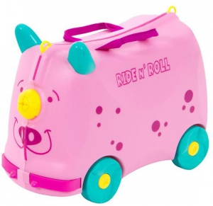 Children Travel Box Bag On Wheels & Ride-On Bike- Pink
