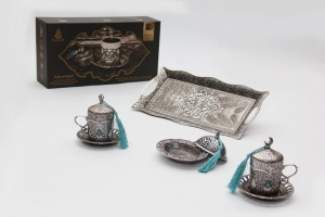 Otantik Home Traditional Turkish Style Coffee Serving Set With Colored Stone Insets