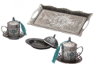 Otantik Home Traditional Turkish Style Coffee Serving Set With Colored Stone Insets Turquoise - Antique Silver