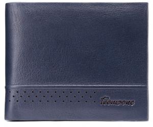 Teemzone Men Genuine Leather Wallet Vintage Blue Color - Q390