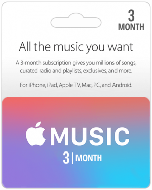 Apple Music Gift Cards 3 Months Subscription