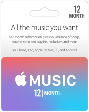 Apple Music Gift Cards 12 Months Subscription