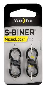 Nite Ize S-Biner- MicroLock - Stainless Steel - 2 Pack - Black