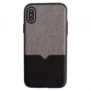 Evutec iPhone XS case Northill - Canvas Black & Grey with Vent Mount