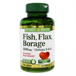 Nature's Bounty - Fish Flax  Borage 1200 mg Omega 3-6-9 -  72 Softgels