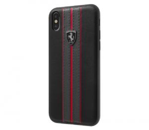 Ferrari Urban - Off Track PU Leather Hard Case For iPhone XR - Black Logo