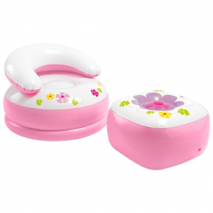Intex 48635 Kiddie Princess Inflatable Playhouse Inflatable Seat and Puff