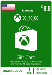 Xbox $8.8 Virtual Gift Card ( 1 Month Subscription )