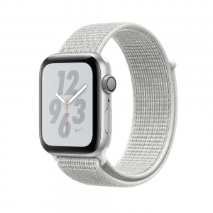 Apple - Watch Nike+ Series 4 GPS 44mm Silver Aluminium Case with Summit White Nike Sport Loop