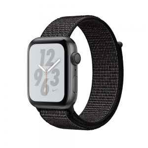 Apple - Watch Nike+ Series 4 GPS 44mm Silver Aluminium Case with Black Nike Sport Loop