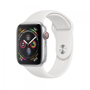 Apple Watch Series 4 GPS + Cellular 44mm Silver Aluminium Case - White Sport Band
