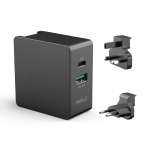 iWalk Power Adapter Travel Power Delivery & QC 3.0 - Black