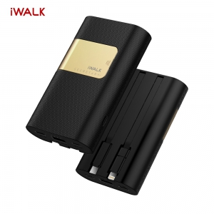 iWalk Secretary+ 10000 mAh With Built-in Cables Power Bank - Black
