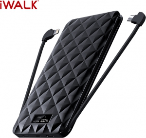 iWalk Trio 2 10000 mAh With Built-in Cables Power Bank - Black