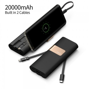 iWalk Secretary Plus 20000mAh - 2x Faster Charging Compact Battery With Stand Power Bank- Black