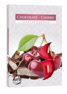 Aura Scented Candles Pack 6 - 66g Chocolate Cherry - (BUY 2 GET 1 FREE)