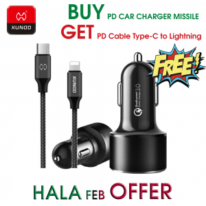 Xundd PD Car Charger Missile OFFER ( Get Xundd PD Cable Type-C to Lightning 1 Meter Eterna FREE)