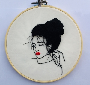 Embroidery Hoop - Off White Cotton Fabric - Medium