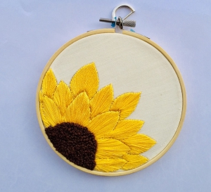 Embroidery Hoop - Off White Cotton Fabric - Small