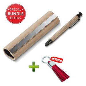 Philippi Doux Stylus & Pen Beige + Gala Keyholder Keychain - Red