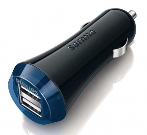 Philips Ultra Fast Dual USB Car Charger  5V/2.1A - Black